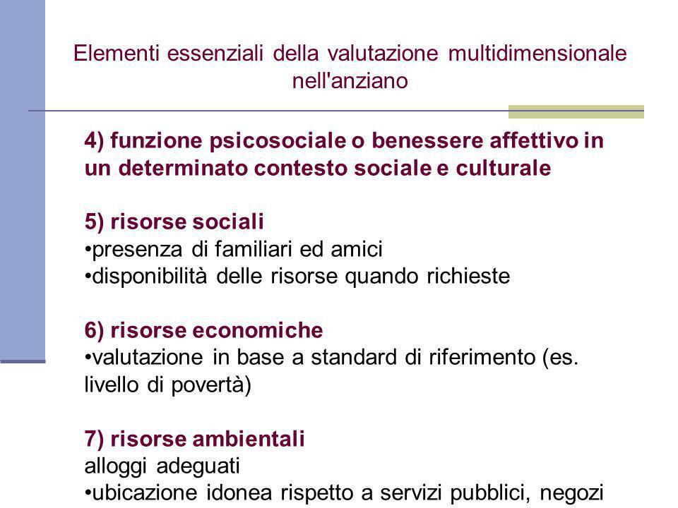 4) funzione psicosociale o benessere affettivo in un determinato contesto sociale e culturale 5) risorse sociali presenza di familiari ed amici disponibilità delle risorse quando richieste 6) risorse economiche valutazione in base a standard di riferimento (es.