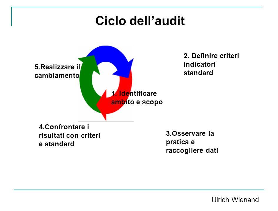 1. Identificare ambito e scopo 2. Definire criteri indicatori standard 3.Osservare la pratica e raccogliere dati 4.Confrontare i risultati con criteri