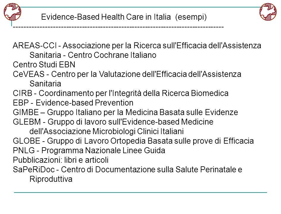 Evidence-Based Health Care in Italia (esempi) -------------------------------------------------------------------------------- AREAS-CCI - Associazion