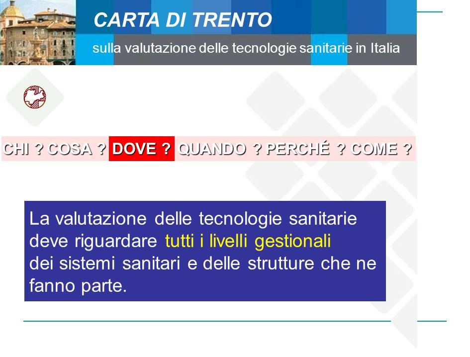 CARTA DI TRENTO sulla valutazione delle tecnologie sanitarie in Italia CHI ? COSA ? DOVE ? QUANDO ? PERCHÉ ? COME ? La valutazione delle tecnologie sa