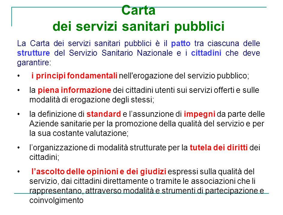 Carta dei servizi sanitari pubblici La Carta dei servizi sanitari pubblici è il patto tra ciascuna delle strutture del Servizio Sanitario Nazionale e