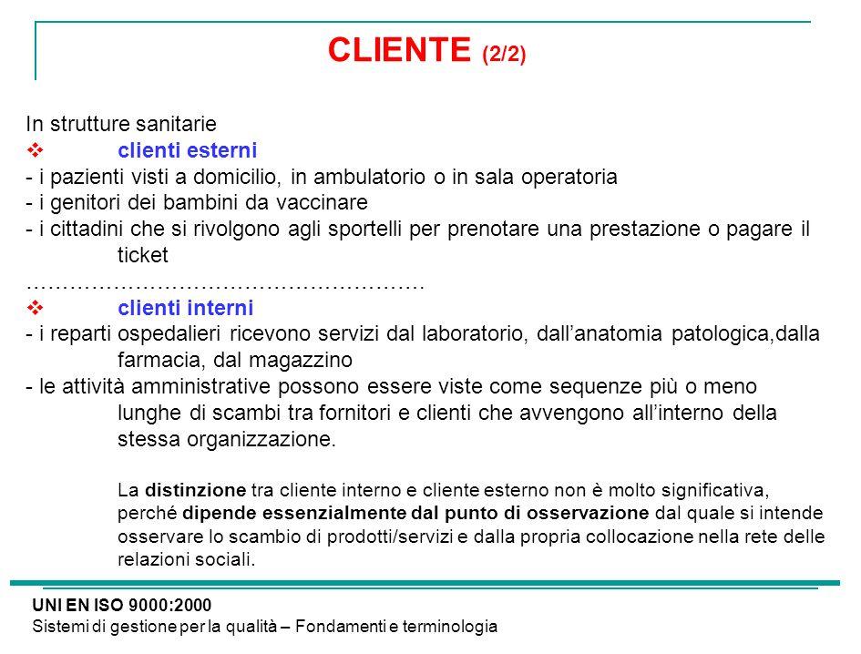 CLIENTE (2/2) In strutture sanitarie clienti esterni - i pazienti visti a domicilio, in ambulatorio o in sala operatoria - i genitori dei bambini da v