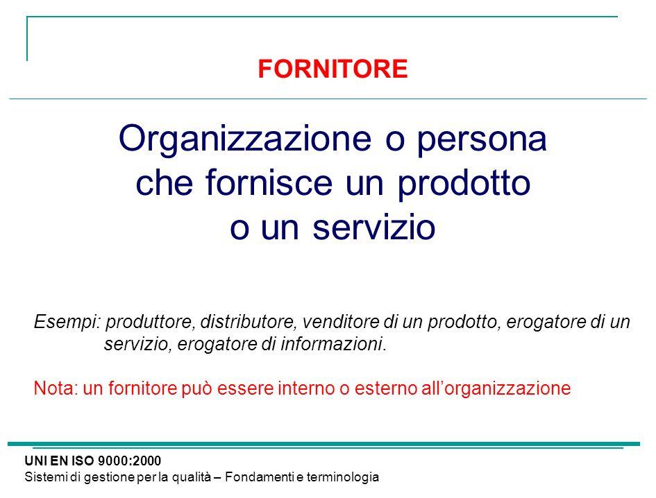 FORNITORE Organizzazione o persona che fornisce un prodotto o un servizio Esempi: produttore, distributore, venditore di un prodotto, erogatore di un
