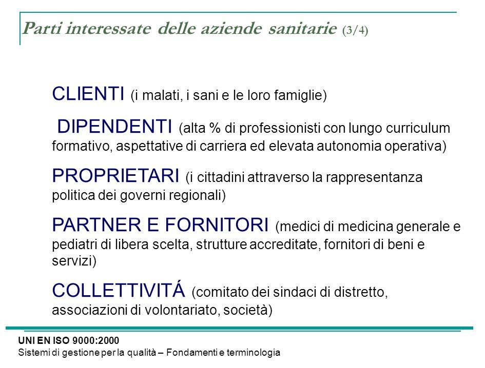 Parti interessate delle aziende sanitarie (3/4) CLIENTI (i malati, i sani e le loro famiglie) DIPENDENTI (alta % di professionisti con lungo curriculu