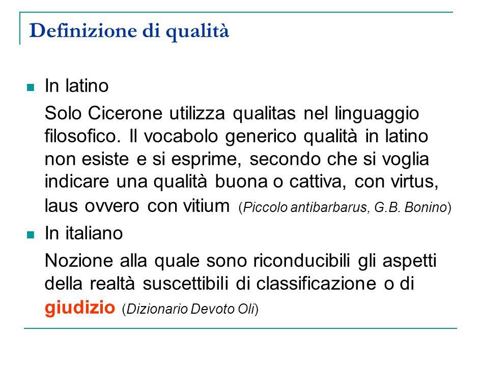 Definizione di qualità In latino Solo Cicerone utilizza qualitas nel linguaggio filosofico. Il vocabolo generico qualità in latino non esiste e si esp