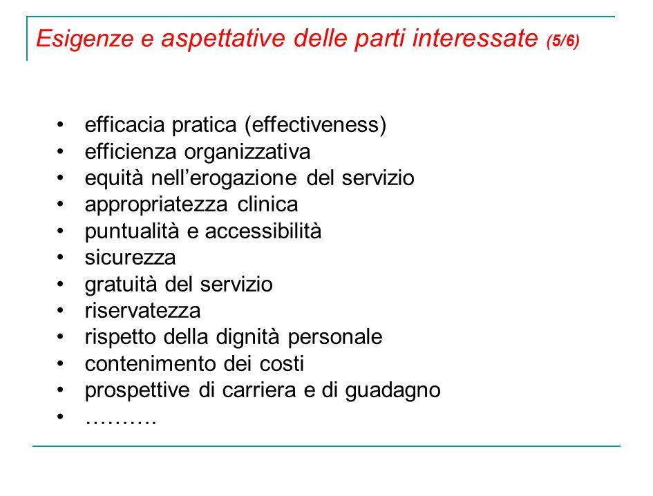 efficacia pratica (effectiveness) efficienza organizzativa equità nellerogazione del servizio appropriatezza clinica puntualità e accessibilità sicure