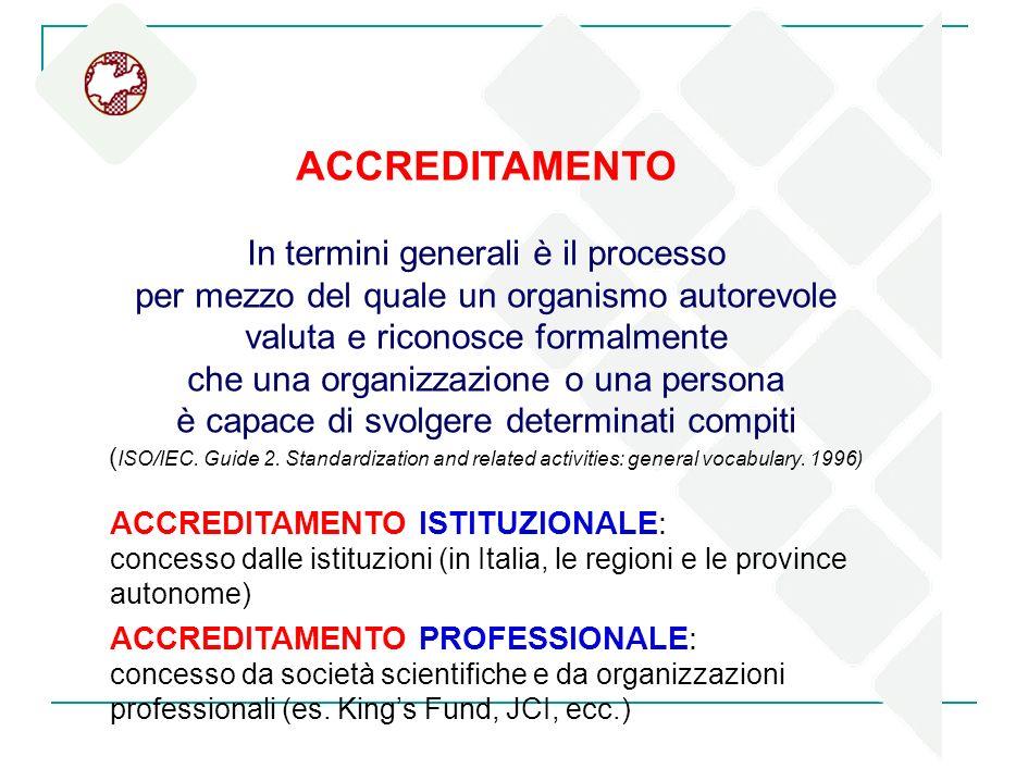 ACCREDITAMENTO In termini generali è il processo per mezzo del quale un organismo autorevole valuta e riconosce formalmente che una organizzazione o u