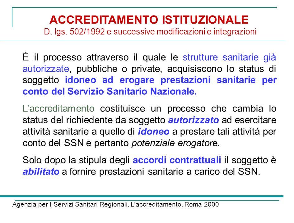 ACCREDITAMENTO ISTITUZIONALE D. lgs. 502/1992 e successive modificazioni e integrazioni Agenzia per I Servizi Sanitari Regionali. Laccreditamento. Rom