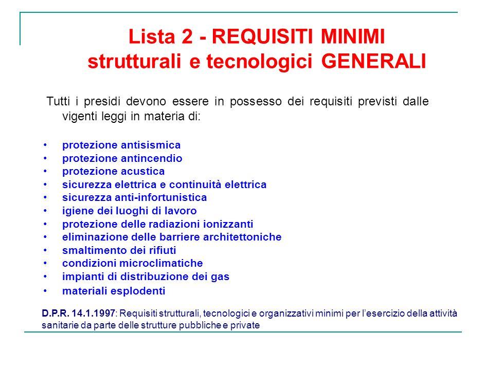 Lista 2 - REQUISITI MINIMI strutturali e tecnologici GENERALI Tutti i presidi devono essere in possesso dei requisiti previsti dalle vigenti leggi in