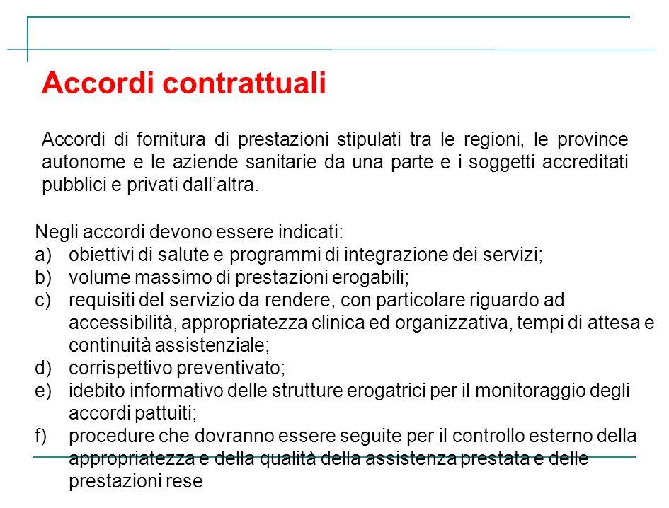 Accordi contrattuali Accordi di fornitura di prestazioni stipulati tra le regioni, le province autonome e le aziende sanitarie da una parte e i sogget
