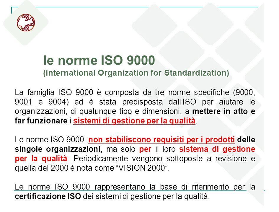 le norme ISO 9000 (International Organization for Standardization) La famiglia ISO 9000 è composta da tre norme specifiche (9000, 9001 e 9004) ed è st