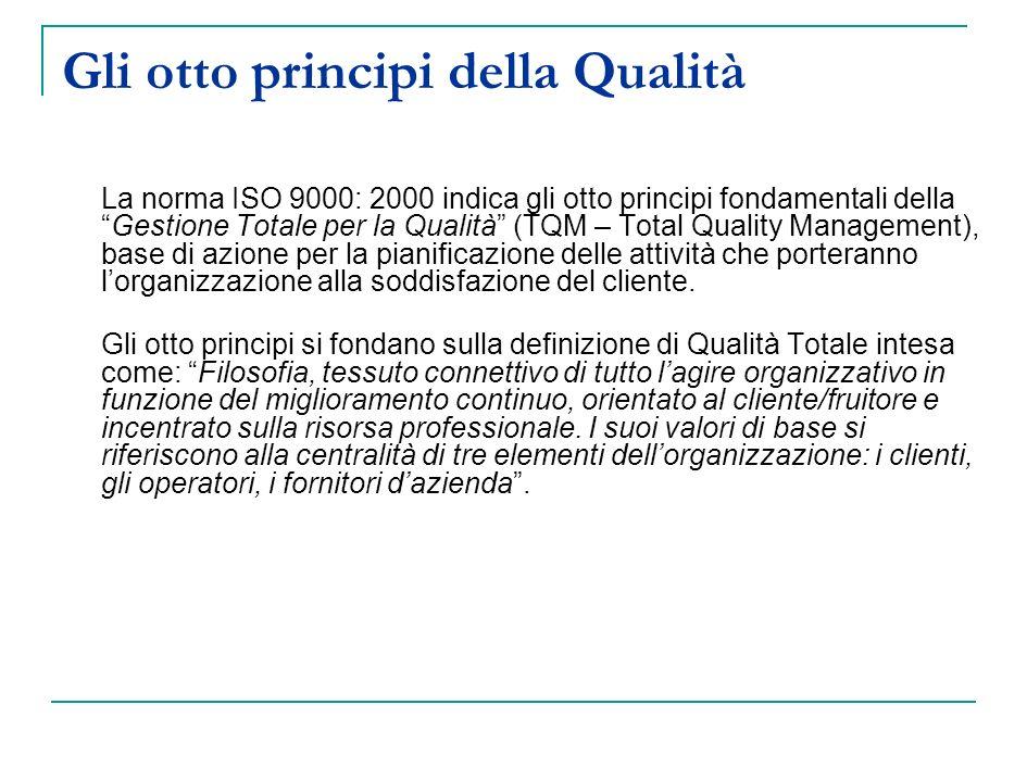 Gli otto principi della Qualità La norma ISO 9000: 2000 indica gli otto principi fondamentali dellaGestione Totale per la Qualità (TQM – Total Quality