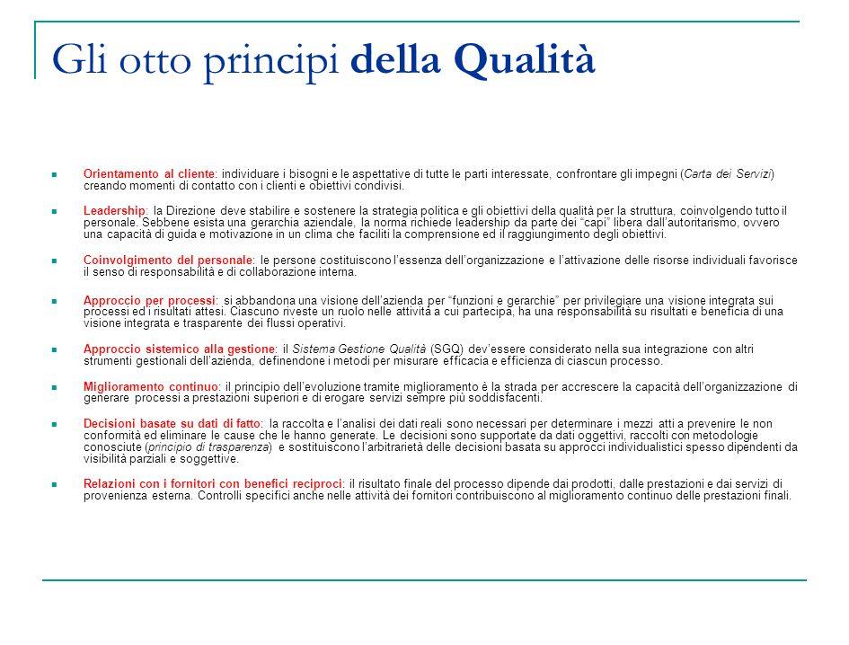 Gli otto principi della Qualità Orientamento al cliente: individuare i bisogni e le aspettative di tutte le parti interessate, confrontare gli impegni