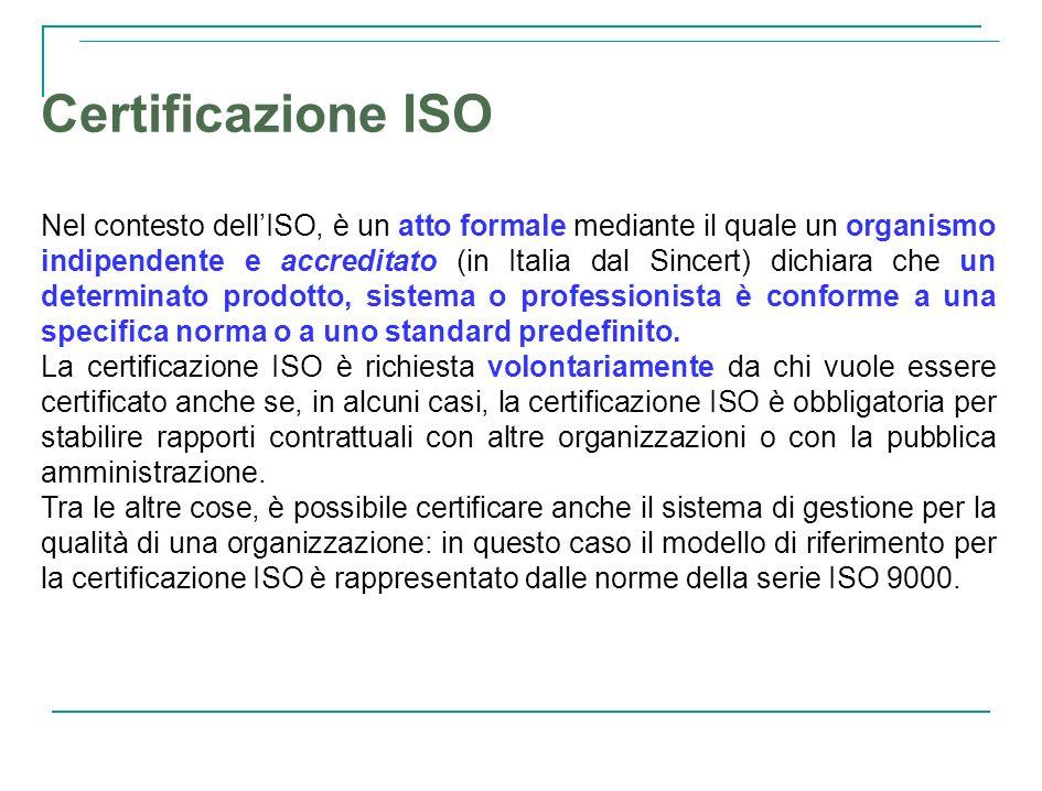 Certificazione ISO Nel contesto dellISO, è un atto formale mediante il quale un organismo indipendente e accreditato (in Italia dal Sincert) dichiara