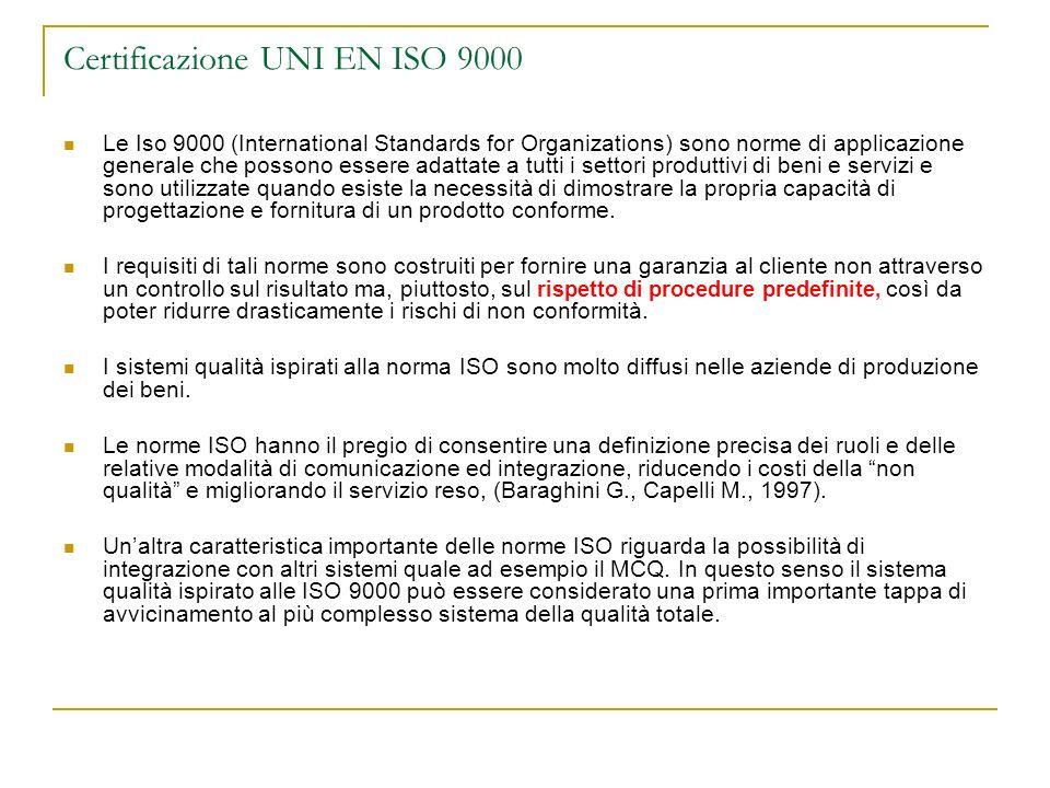 Certificazione UNI EN ISO 9000 Le Iso 9000 (International Standards for Organizations) sono norme di applicazione generale che possono essere adattate