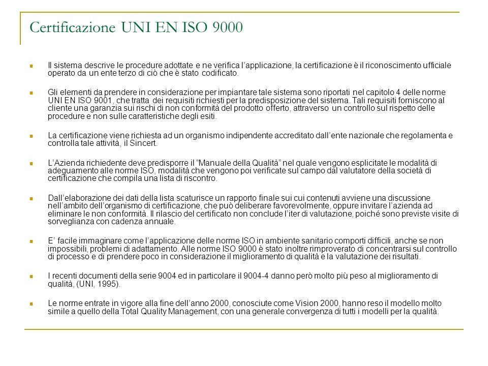 Certificazione UNI EN ISO 9000 Il sistema descrive le procedure adottate e ne verifica lapplicazione, la certificazione è il riconoscimento ufficiale