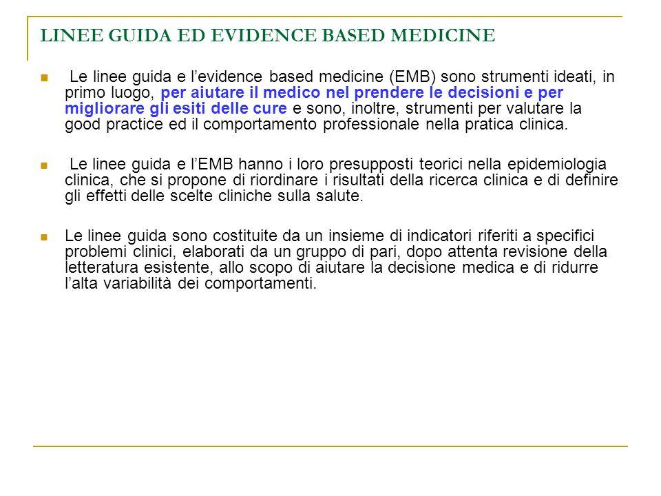 LINEE GUIDA ED EVIDENCE BASED MEDICINE Le linee guida e levidence based medicine (EMB) sono strumenti ideati, in primo luogo, per aiutare il medico ne