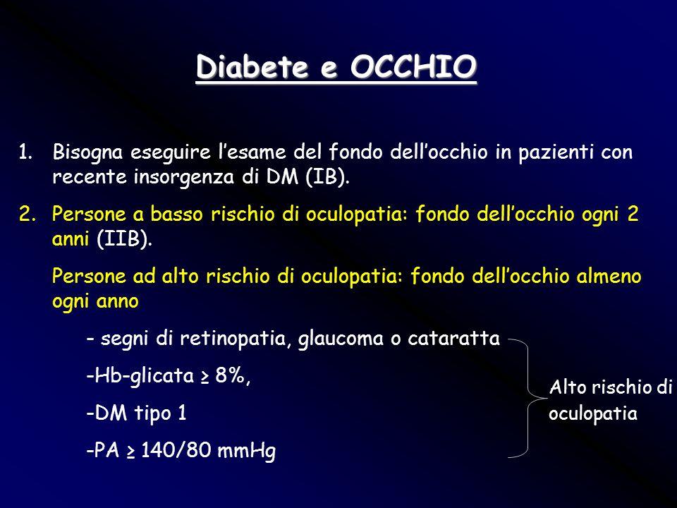 Diabete e OCCHIO 1.Bisogna eseguire lesame del fondo dellocchio in pazienti con recente insorgenza di DM (IB). 2.Persone a basso rischio di oculopatia
