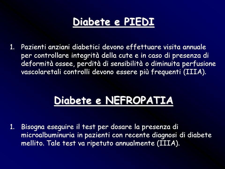 Diabete e PIEDI 1.Pazienti anziani diabetici devono effettuare visita annuale per controllare integrità della cute e in caso di presenza di deformità