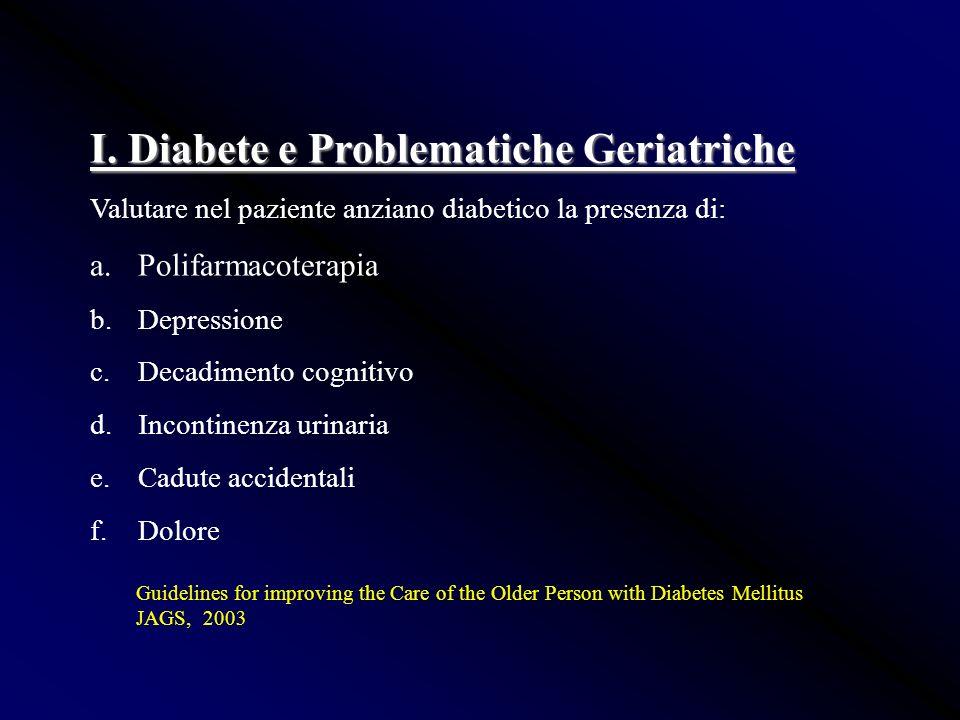 I. Diabete e Problematiche Geriatriche Valutare nel paziente anziano diabetico la presenza di: a.Polifarmacoterapia b.Depressione c.Decadimento cognit