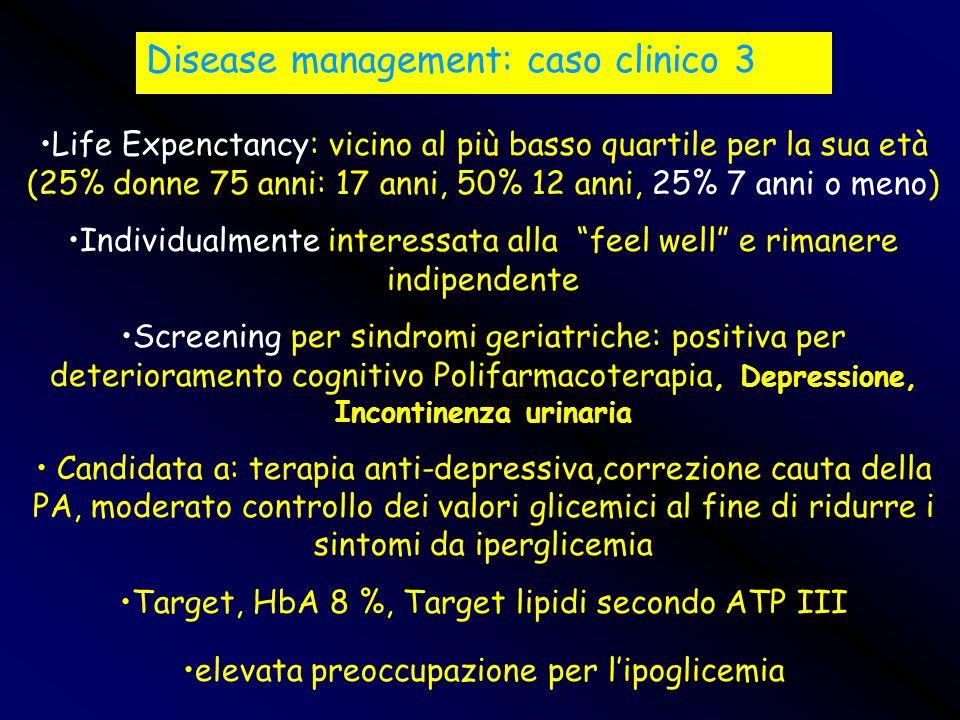 Disease management: caso clinico 3 Life Expenctancy: vicino al più basso quartile per la sua età (25% donne 75 anni: 17 anni, 50% 12 anni, 25% 7 anni
