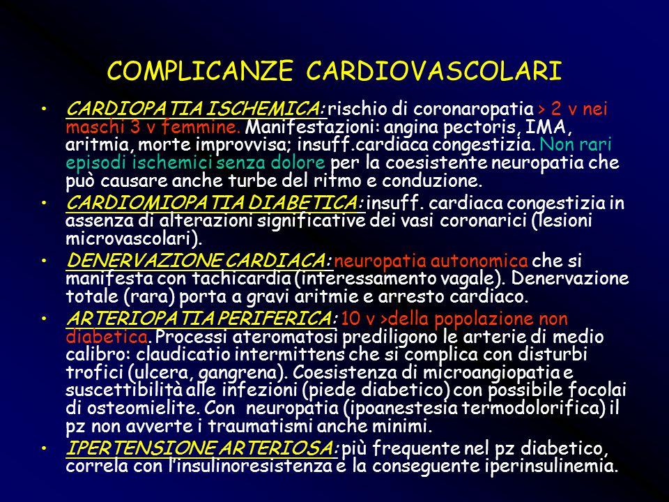 COMPLICANZE CARDIOVASCOLARI CARDIOPATIA ISCHEMICA: rischio di coronaropatia > 2 v nei maschi 3 v femmine. Manifestazioni: angina pectoris, IMA, aritmi