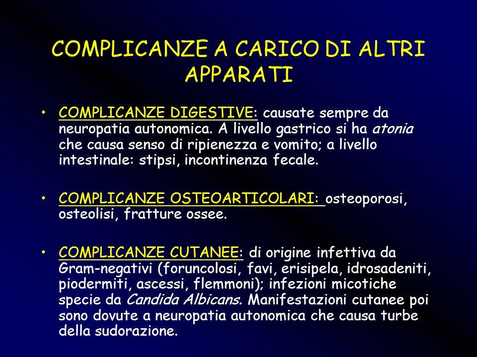 COMPLICANZE A CARICO DI ALTRI APPARATI COMPLICANZE DIGESTIVE: causate sempre da neuropatia autonomica. A livello gastrico si ha atonia che causa senso