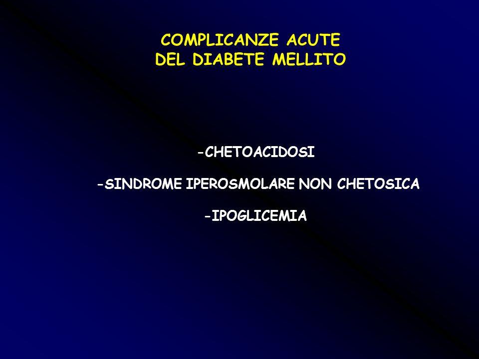 COMPLICANZE ACUTE DEL DIABETE MELLITO -CHETOACIDOSI -SINDROME IPEROSMOLARE NON CHETOSICA -IPOGLICEMIA