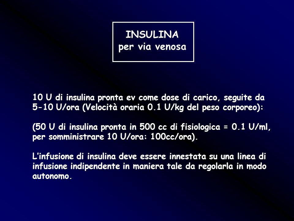 INSULINA per via venosa 10 U di insulina pronta ev come dose di carico, seguite da 5-10 U/ora (Velocità oraria 0.1 U/kg del peso corporeo): (50 U di i