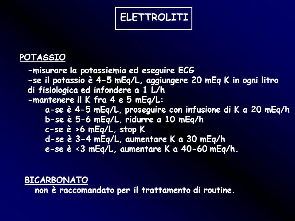 ELETTROLITI POTASSIO -misurare la potassiemia ed eseguire ECG -se il potassio è 4-5 mEq/L, aggiungere 20 mEq K in ogni litro di fisiologica ed infonde