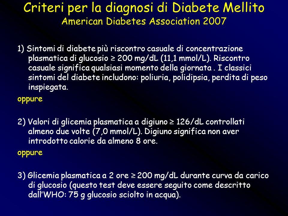 Criteri per la diagnosi di Diabete Mellito American Diabetes Association 2007 1) Sintomi di diabete più riscontro casuale di concentrazione plasmatica
