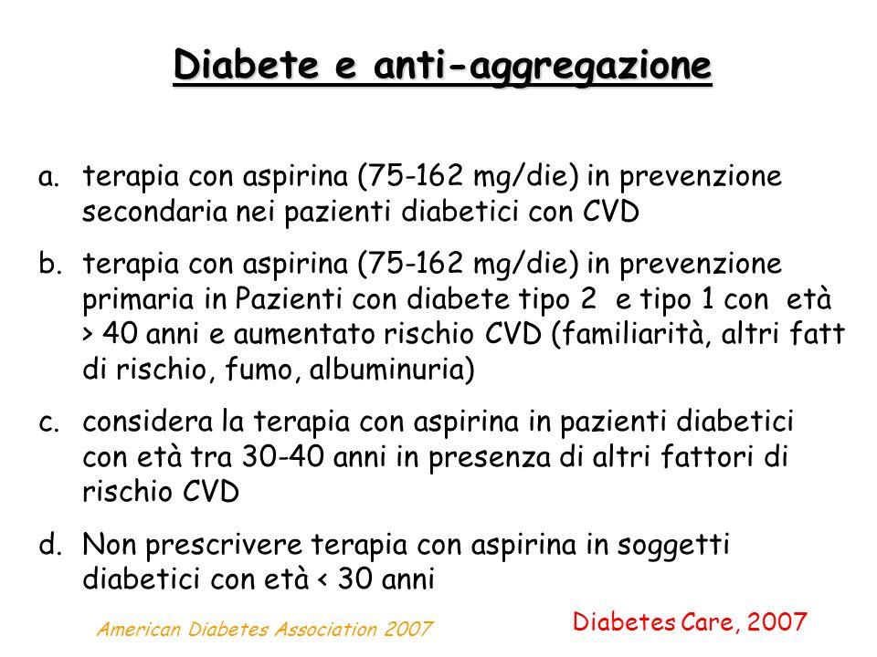 Diabete e anti-aggregazione a.terapia con aspirina (75-162 mg/die) in prevenzione secondaria nei pazienti diabetici con CVD b.terapia con aspirina (75