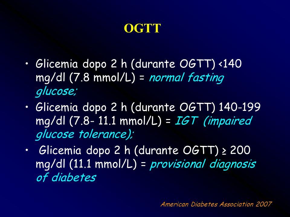 OGTT Glicemia dopo 2 h (durante OGTT) <140 mg/dl (7.8 mmol/L) = normal fasting glucose; Glicemia dopo 2 h (durante OGTT) 140-199 mg/dl (7.8- 11.1 mmol