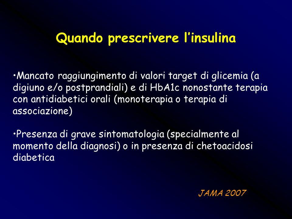 Quando prescrivere linsulina Mancato raggiungimento di valori target di glicemia (a digiuno e/o postprandiali) e di HbA1c nonostante terapia con antid
