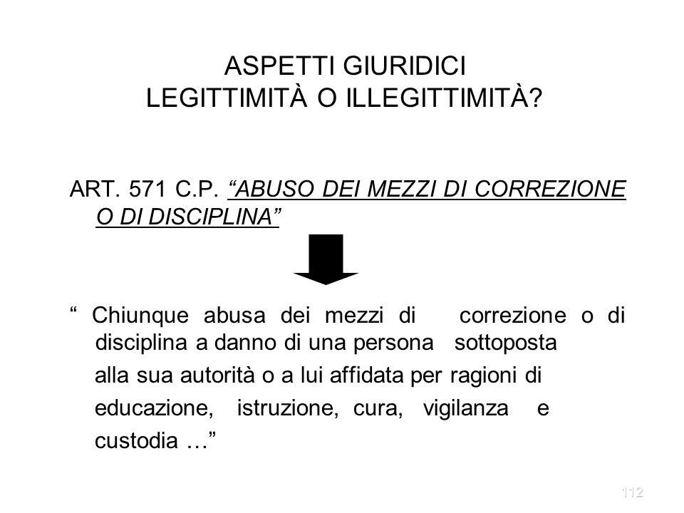 112 ART. 571 C.P. ABUSO DEI MEZZI DI CORREZIONE O DI DISCIPLINA Chiunque abusa dei mezzi di correzione o di disciplina a danno di una persona sottopos