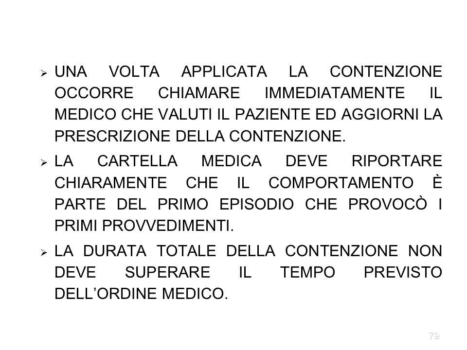 79 UNA VOLTA APPLICATA LA CONTENZIONE OCCORRE CHIAMARE IMMEDIATAMENTE IL MEDICO CHE VALUTI IL PAZIENTE ED AGGIORNI LA PRESCRIZIONE DELLA CONTENZIONE.