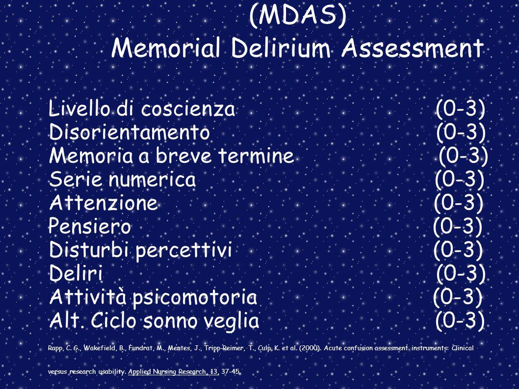 (MDAS) Memorial Delirium Assessment Livello di coscienza (0-3) Disorientamento (0-3) Memoria a breve termine (0-3) Serie numerica (0-3) Attenzione (0-