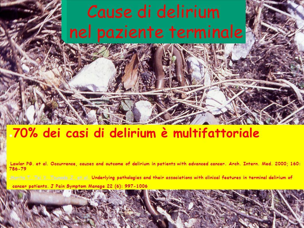 Cause di delirium nel paziente terminale 70% dei casi di delirium è multifattoriale Lawlor PG. et al. Occurrence, causes and outcome of delirium in pa