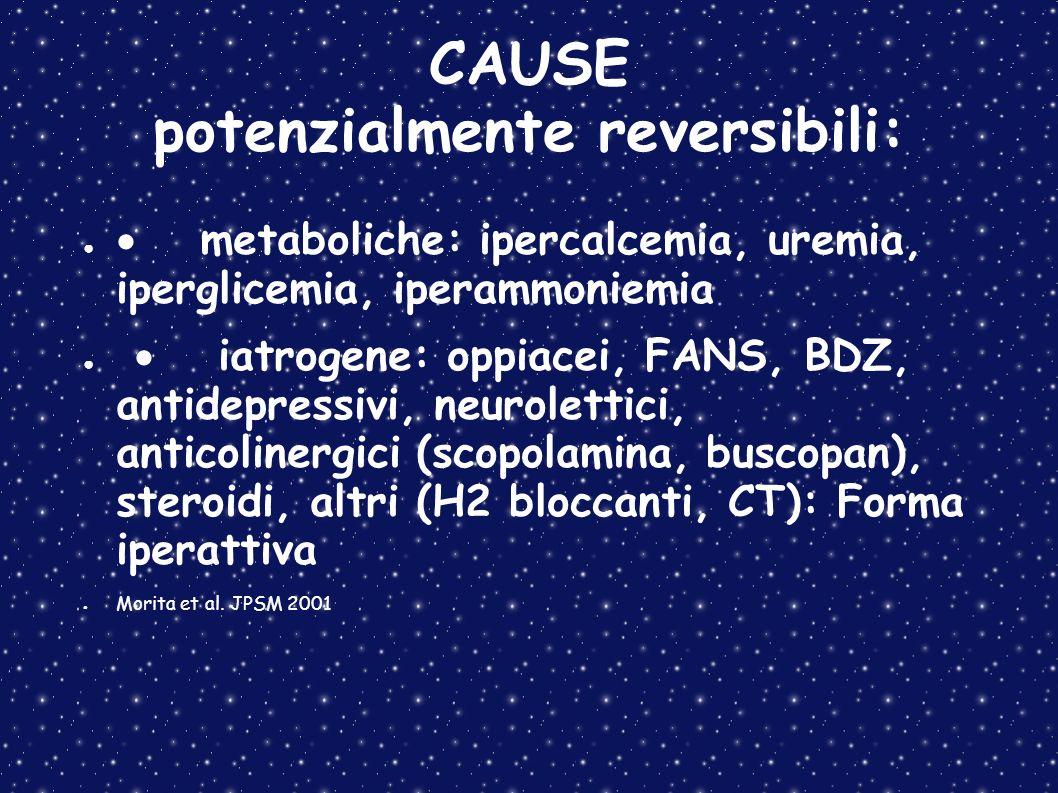 CAUSE potenzialmente reversibili: metaboliche: ipercalcemia, uremia, iperglicemia, iperammoniemia iatrogene: oppiacei, FANS, BDZ, antidepressivi, neur