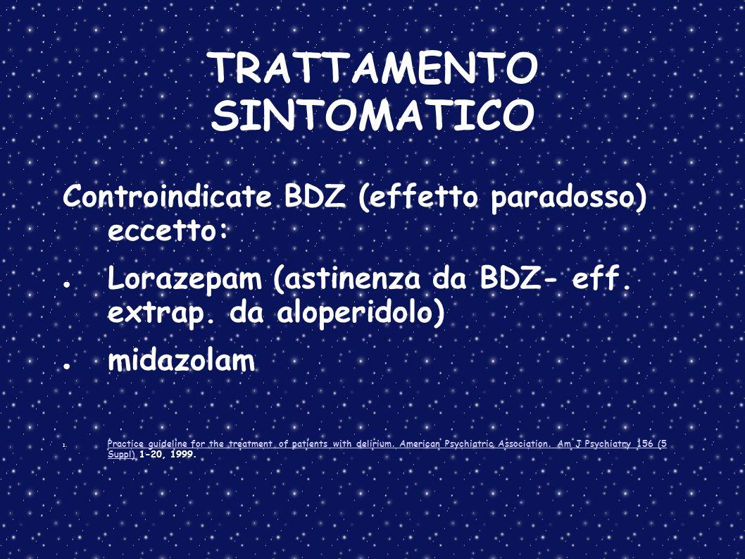 TRATTAMENTO SINTOMATICO Controindicate BDZ (effetto paradosso) eccetto: Lorazepam (astinenza da BDZ- eff. extrap. da aloperidolo) midazolam 1. Practic
