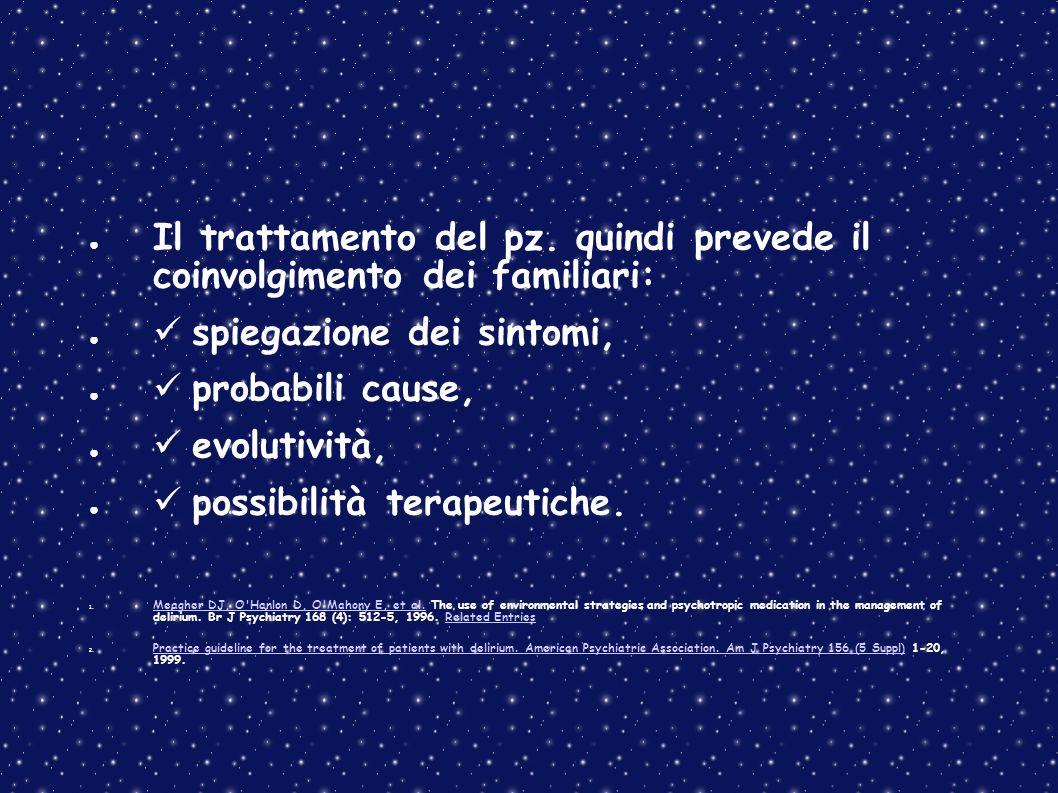 Il trattamento del pz. quindi prevede il coinvolgimento dei familiari: spiegazione dei sintomi, probabili cause, evolutività, possibilità terapeutiche