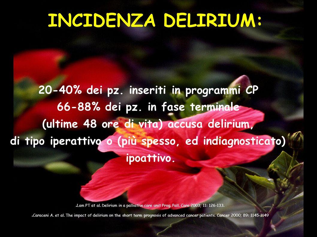 INCIDENZA DELIRIUM: 20-40% dei pz. inseriti in programmi CP 66-88% dei pz. in fase terminale (ultime 48 ore di vita) accusa delirium, di tipo iperatti