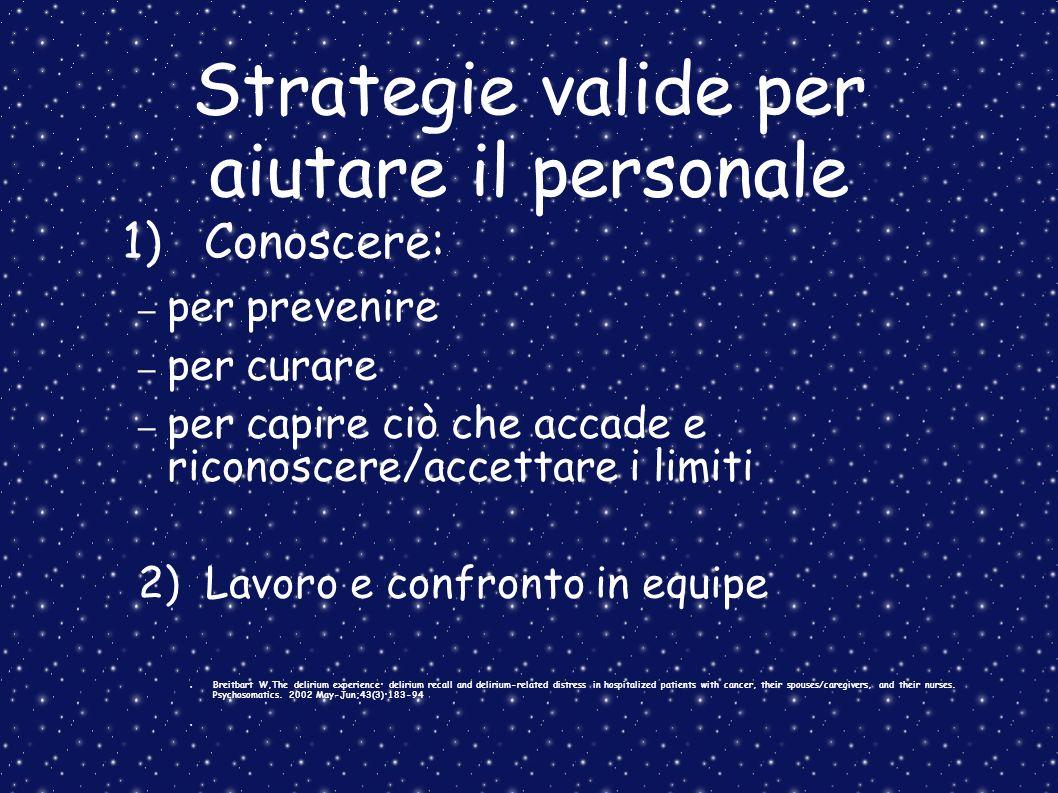 Strategie valide per aiutare il personale 1) Conoscere: – per prevenire – per curare – per capire ciò che accade e riconoscere/accettare i limiti 2) L