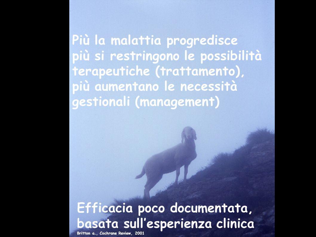 Più la malattia progredisce più si restringono le possibilità terapeutiche (trattamento), più aumentano le necessità gestionali (management) Efficacia