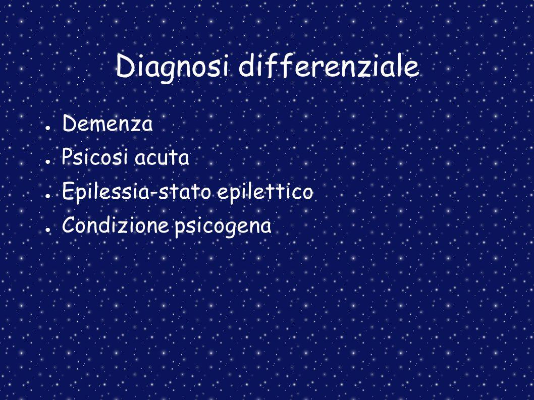 Diagnosi differenziale Demenza Psicosi acuta Epilessia-stato epilettico Condizione psicogena