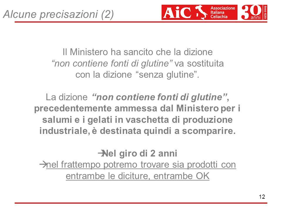 12 Il Ministero ha sancito che la dizione non contiene fonti di glutine va sostituita con la dizione senza glutine. La dizione non contiene fonti di g