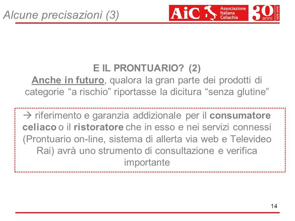 14 E IL PRONTUARIO? (2) Anche in futuro, qualora la gran parte dei prodotti di categorie a rischio riportasse la dicitura senza glutine riferimento e