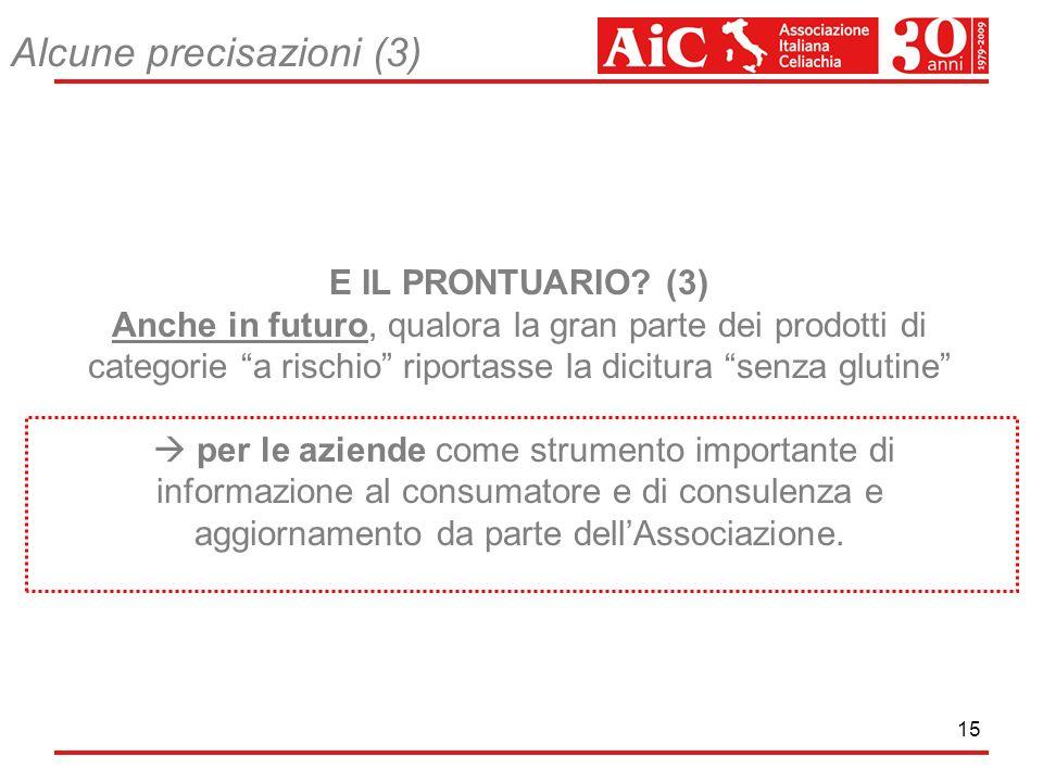 15 E IL PRONTUARIO? (3) Anche in futuro, qualora la gran parte dei prodotti di categorie a rischio riportasse la dicitura senza glutine per le aziende