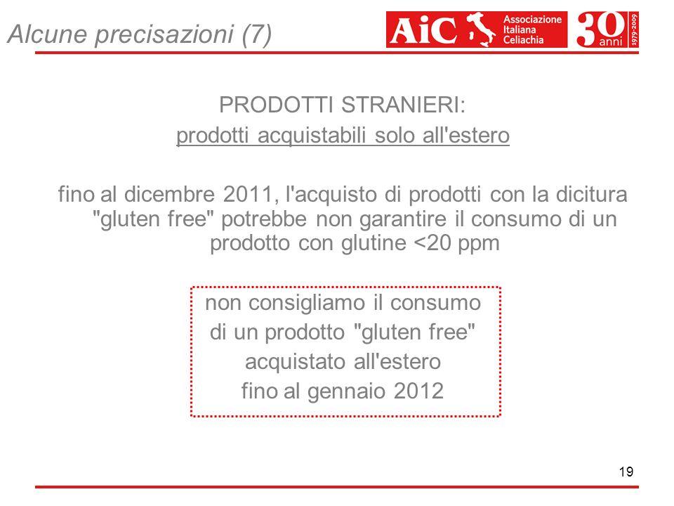 19 Alcune precisazioni (7) PRODOTTI STRANIERI: prodotti acquistabili solo all'estero fino al dicembre 2011, l'acquisto di prodotti con la dicitura