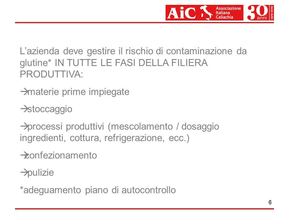 6 Lazienda deve gestire il rischio di contaminazione da glutine* IN TUTTE LE FASI DELLA FILIERA PRODUTTIVA: materie prime impiegate stoccaggio process